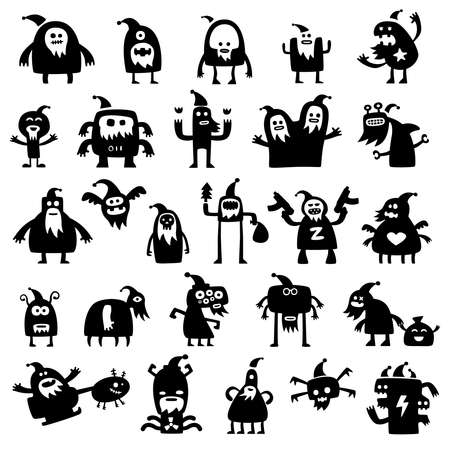 christmas monsters silhouettes Stock Photo - 8240715