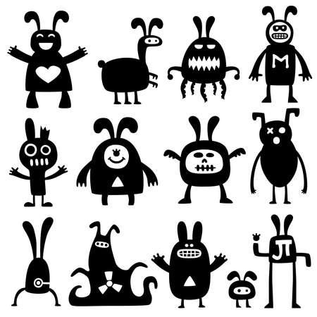 crazy rabbits set02 Vector