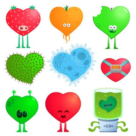 crazy hearts Vector