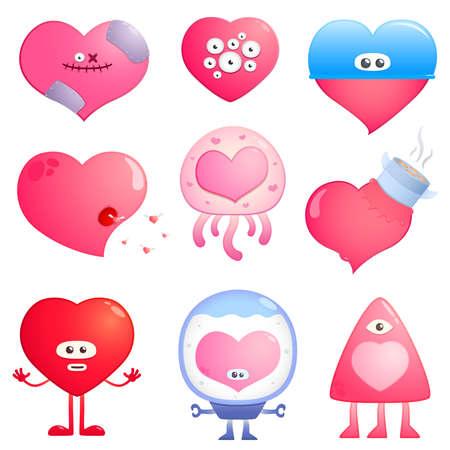 funny hearts Vector