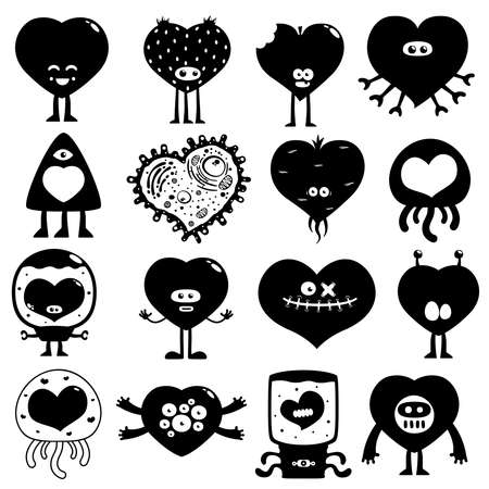 funny monster: silhouette hearts Illustration