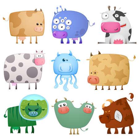 grappige koeien Vector Illustratie