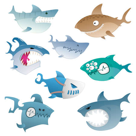 fish icon: angry sharks Illustration