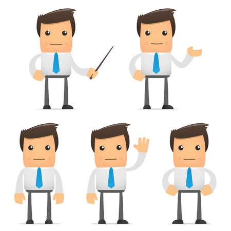 young businessman: set of funny cartoon office worker in various poses for use in presentations, etc. Illustration