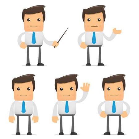 set van grappige cartoon kantoor werknemer in verschillende poses voor gebruik in presentaties, enz.