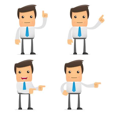 empresario: conjunto de empleado de la Oficina de dibujos animados gracioso en varias poses para su uso en presentaciones, etc..
