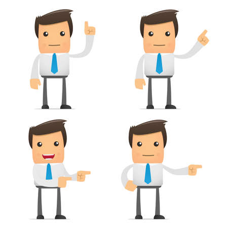 set of funny cartoon office worker in various poses for use in presentations, etc. Stock Vector - 8717365