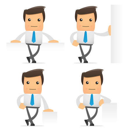 characters: set of funny cartoon office worker in various poses for use in presentations, etc. Illustration