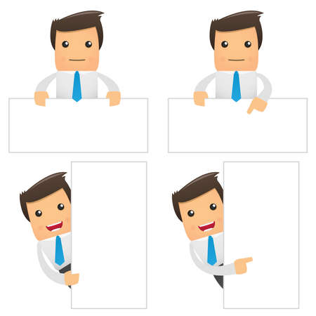 necktie: set of funny cartoon office worker in various poses for use in presentations, etc. Illustration