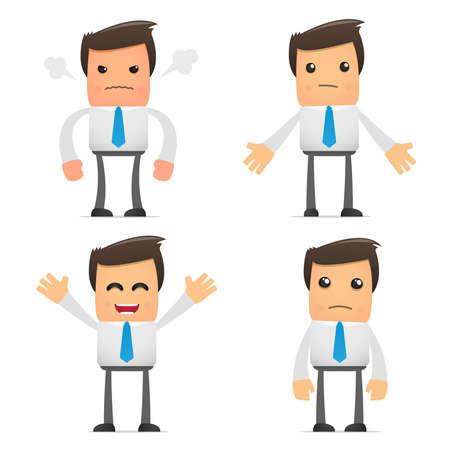 empresario triste: conjunto de empleado de la Oficina de dibujos animados gracioso en varias poses para su uso en presentaciones, etc..