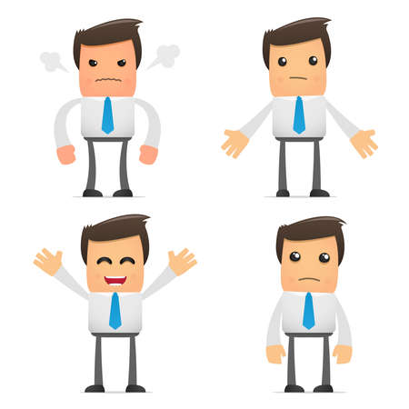 sad businessman: set of funny cartoon office worker in various poses for use in presentations, etc. Illustration