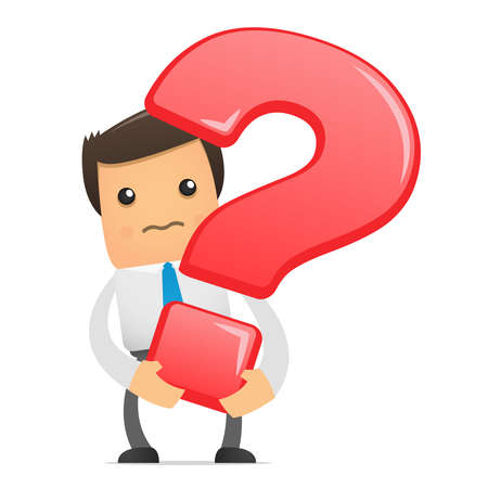 confused person: illustration of office worker with a big question