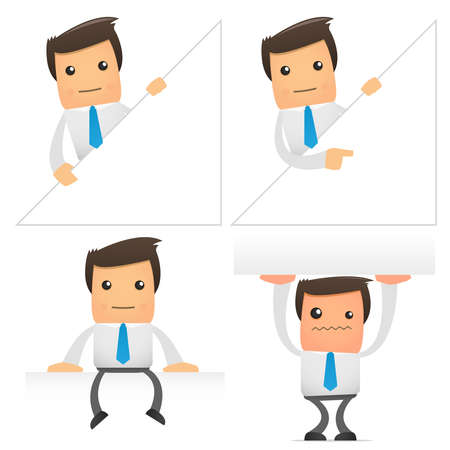 visual presentations: set of funny cartoon office worker in various poses for use in presentations, etc. Illustration