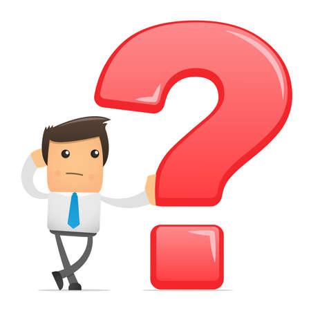 Illustration der Büroangestellter mit einer großen Frage