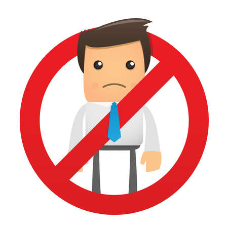 illustration of a sad character manager in the sign ban Stock Vector - 8717358
