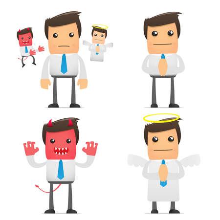 diablo y angel: conjunto de empleado de la Oficina de dibujos animados gracioso en varias poses para uso en presentaciones, etc..