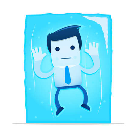 illustration of cartoon office worker in a frozen block of ice Vector