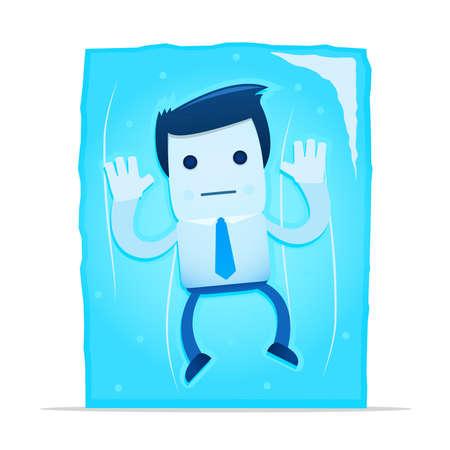 hombre caricatura: Ilustraci�n de empleado de la Oficina de dibujos animados en un bloque congelado de hielo