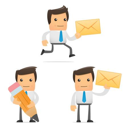 mail man: conjunto de empleado de la Oficina de dibujos animados gracioso en varias poses para su uso en presentaciones, etc..