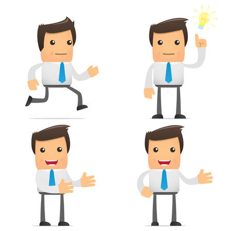 set of funny cartoon office worker in various poses for use in presentations, etc. Illustration