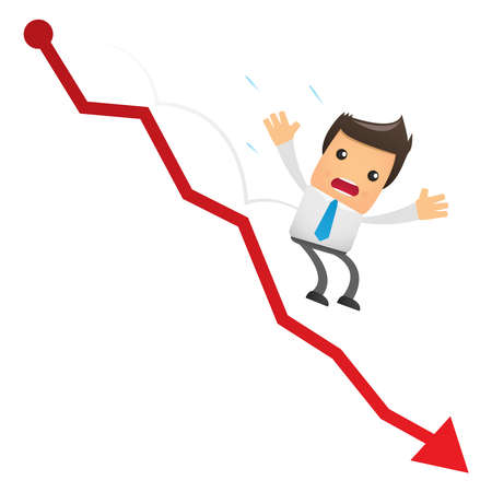 graph down: illustration of cartoon office worker falling from the chart Illustration