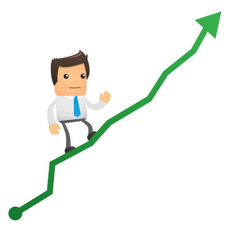 illustration of cartoon office worker climbs up chart Vector