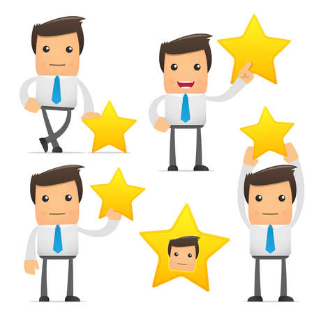 cheerful character: set of funny cartoon office worker in various poses for use in presentations, etc. Illustration