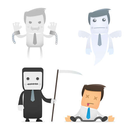 ominous: set of funny cartoon office worker in various poses for use in presentations, etc. Illustration