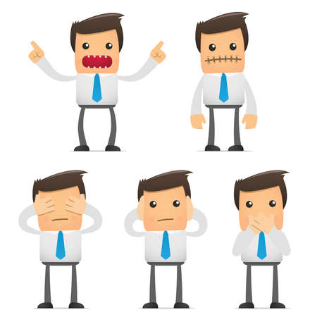saying: set of funny cartoon office worker in various poses for use in presentations, etc. Illustration