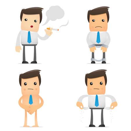 sigaretta: insieme di lavoratore di ufficio divertenti cartoni animati in varie pose da utilizzare in presentazioni, etc. Vettoriali