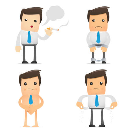 set of funny cartoon office worker in vaus poses for use in presentations, etc. Stock Vector - 8717389