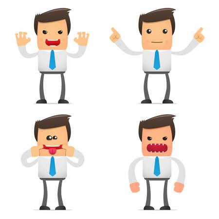 empresario triste: conjunto de empleado de la Oficina de dibujos animados gracioso en varias poses para uso en presentaciones, etc..