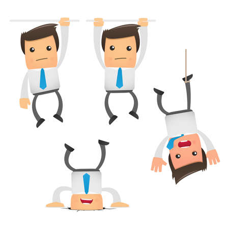 set of funny cartoon office worker in various poses for use in presentations, etc. Stock Vector - 8717382