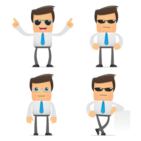 young worker: set of funny cartoon manager