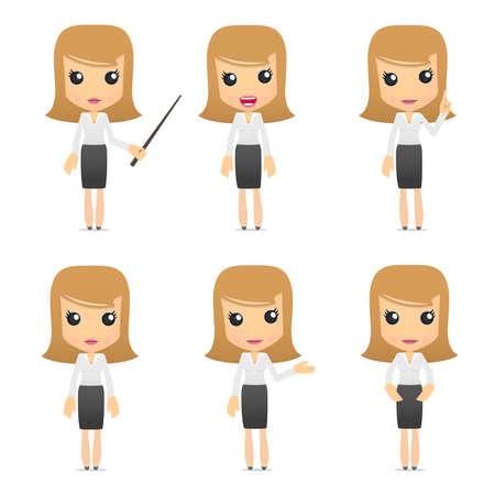 businesswoman suit: conjunto de mujeres de negocios de dibujos animados divertido