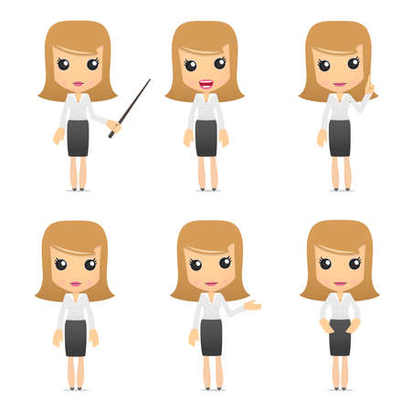 verzameling van grappige cartoon zakelijke vrouwen Stockfoto - 8862809