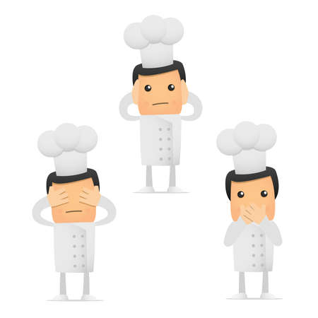 set of funny cartoon chef Stock Vector - 8862774