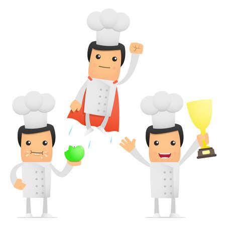 cartoon chef: set of funny cartoon chef
