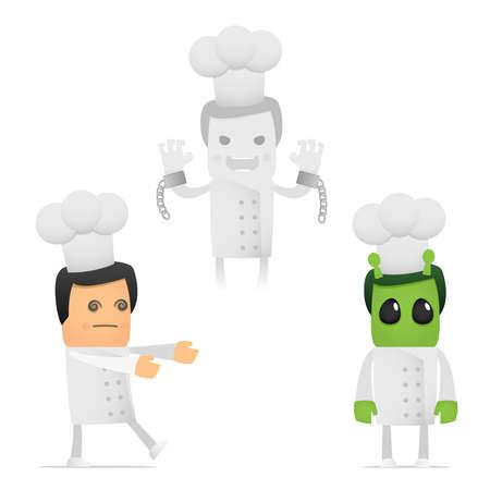 set of funny cartoon chef Stock Vector - 8862794