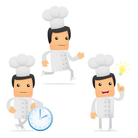 positive thought: set of funny cartoon chef