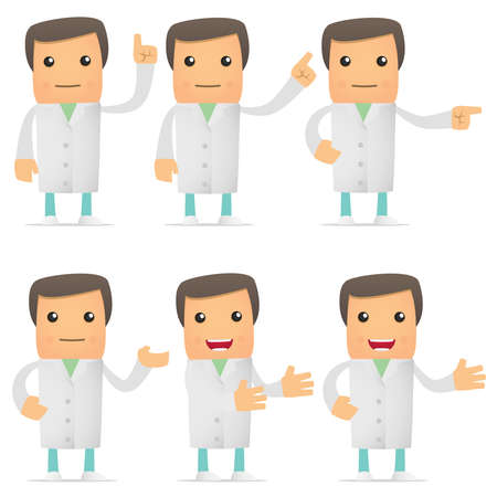 practitioner: set of funny cartoon doctor