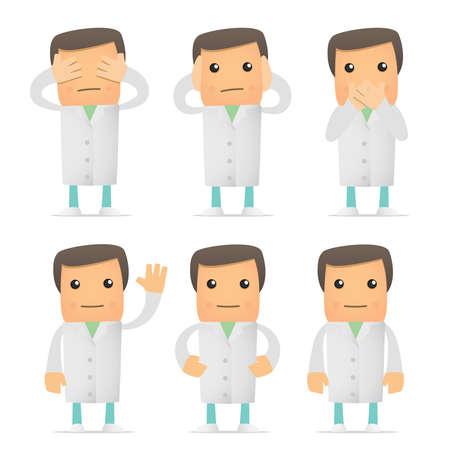 chirurgo: set di doctor divertente cartone animato Vettoriali