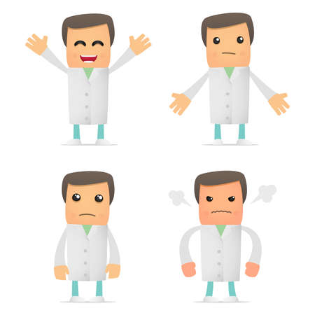 orderly: set of funny cartoon doctor