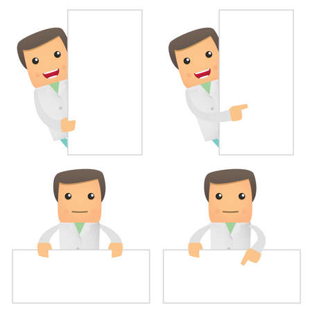 obstetrician: set of funny cartoon doctor