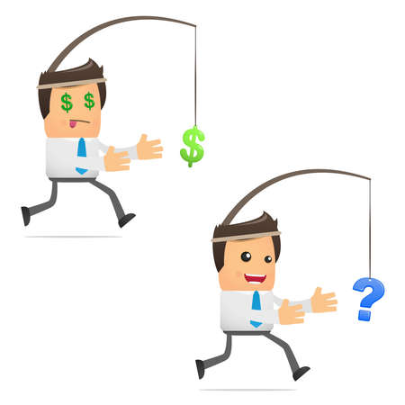 financial questions: set of funny cartoon manager
