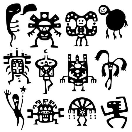 funny monster: funny shamans and spirits Illustration