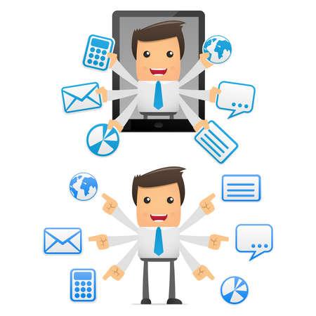 communications technology: conjunto de administrador de dibujos animados divertido