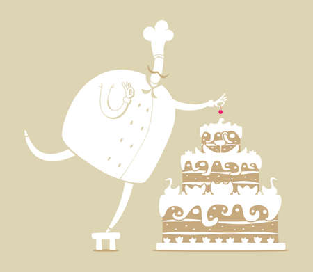 cook and cake Vector