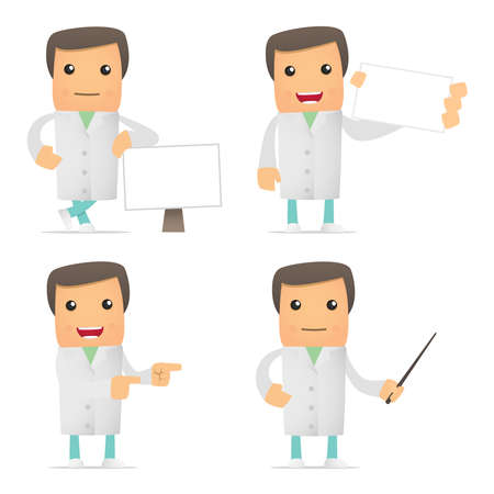 scientific: set of funny cartoon doctor