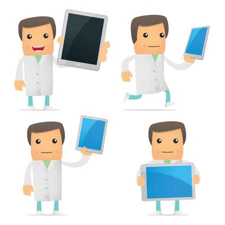 set of funny cartoon doctor Stock Vector - 9463281